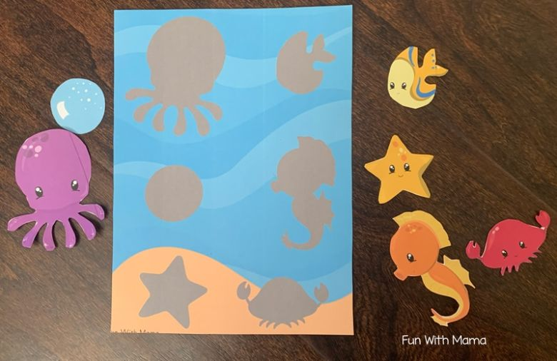 Activities for toddlers - ocean shadow matching