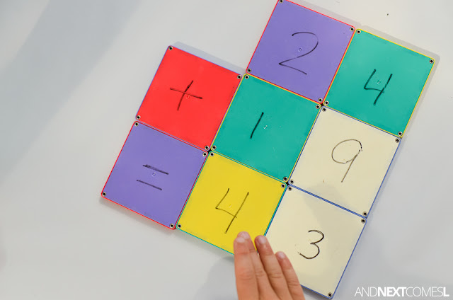 Elementary math activity for kids using Magna-Tiles from And Next Comes L