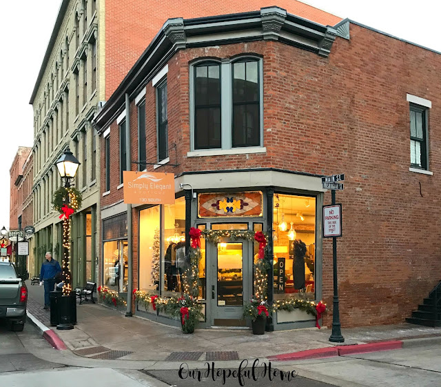 Simply Elegant shop Main Street Galena brick building Christmas decorations