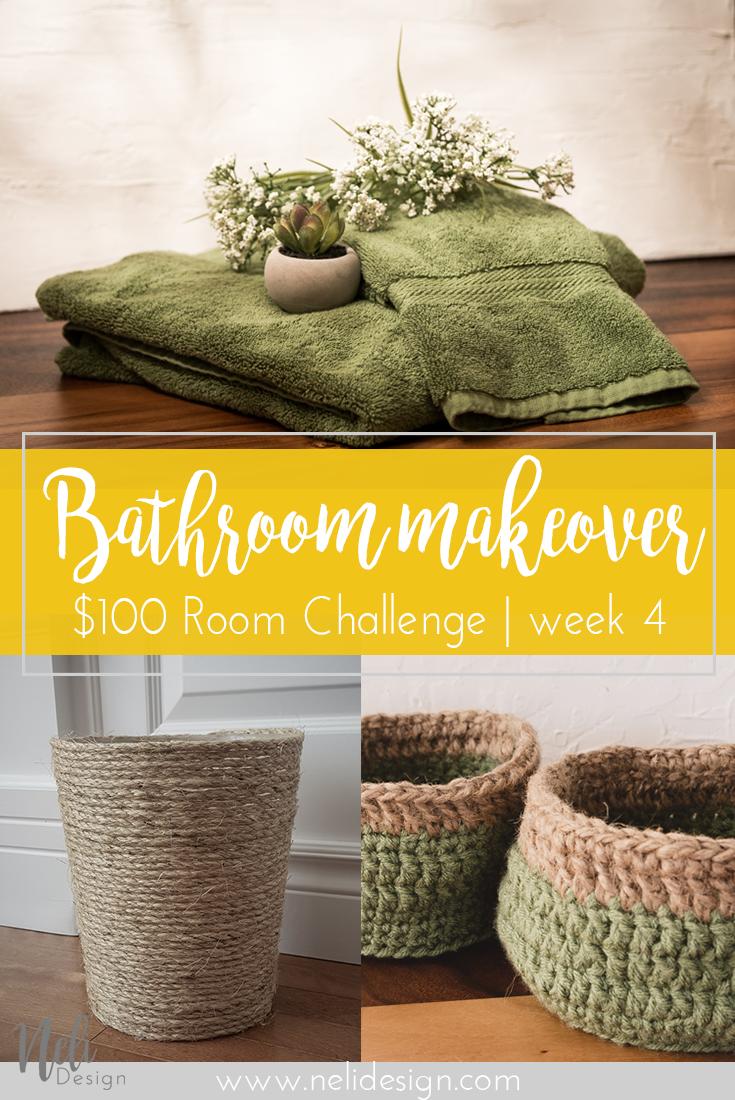 $100 Room Challenge | bathroom | Crochet basket | Green towels | Sisal Rope | Burlap | Garbage can |
