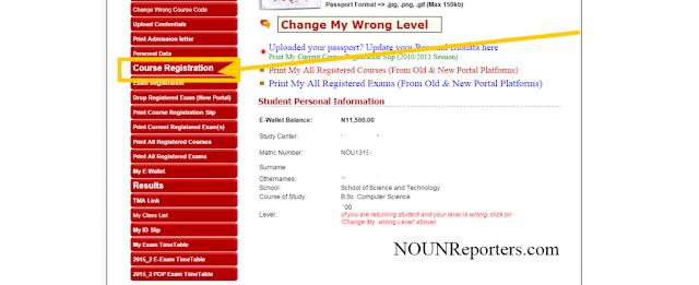 Portal Pro NOUN Students Control Centre - Noun course registration