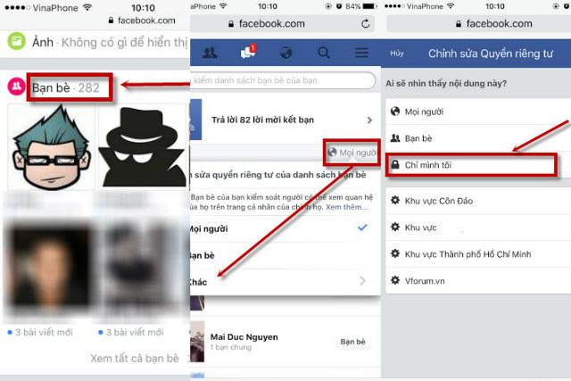 ẩn, khóa danh sách bạn bè trên facebook 3