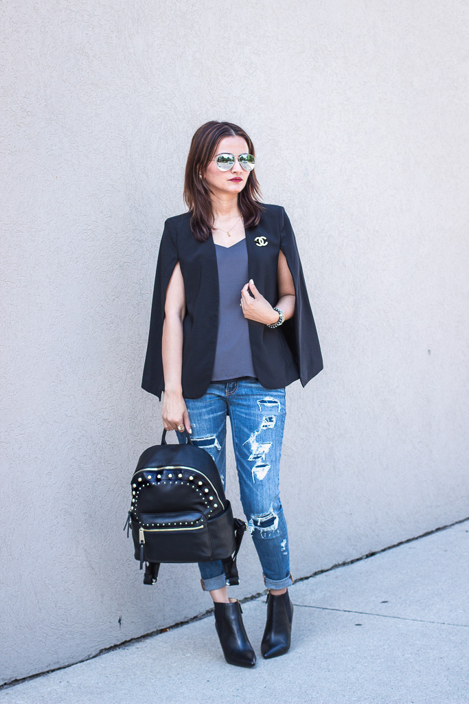 Chanel Pin Black Cape Blazer Blogger Outfit
