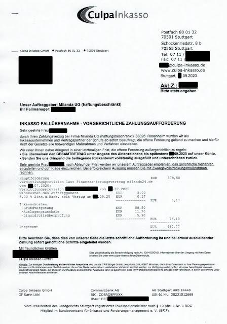 Scan: Forderung Culpa Inkasso / Milanda UG (haftungsbeschränkt) / Sep 2020