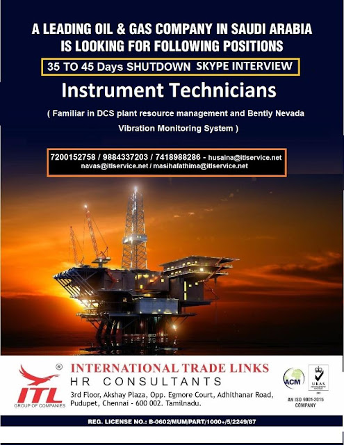 Instrument Technician, Instrumentation Jobs, Saudi Arabia Jobs, Oil & Gas Jobs, Shutdown Jobs, ITL HR Consultants,