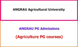 ANGRAU PG Admissons 2021