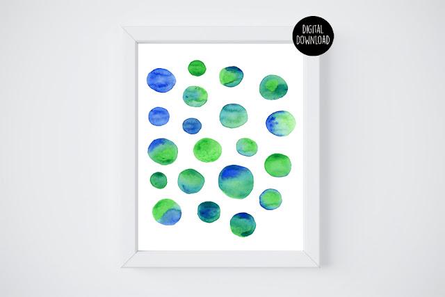 blue and green circles watercolor painting // 8x10 // printable digital download