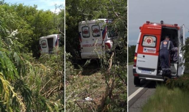 Motorista passa mal e ambulância desce ribanceira na BR-030
