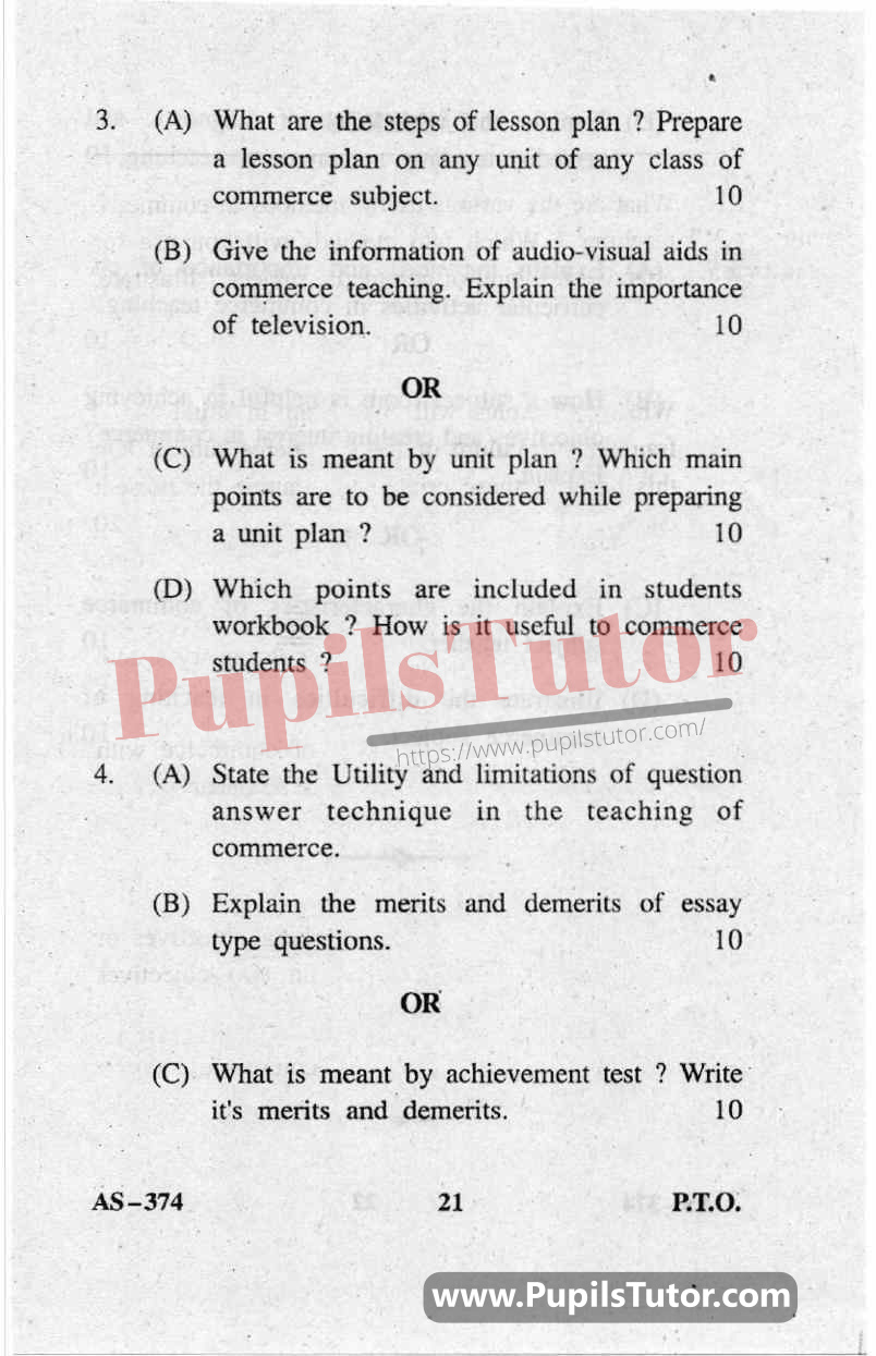 Teaching Of Commerce Question Paper In English