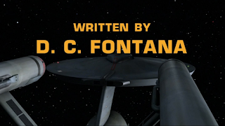 "Star Trek original series title card showing ""Written by D.C. Fontana"""