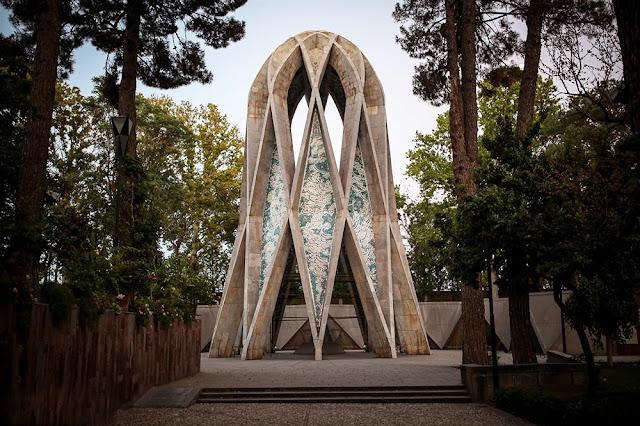 Khayyam Neishabouri's mausoleum in a garden in Neishabour. Iran