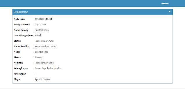 Source Code PHP WEB Sistem Informasi Pelayanan Service Computer
