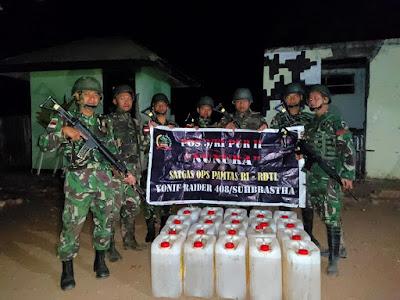 Satgas Yonif Raider 408/Sbh Kembali Mengamankan 500 Liter BBM Ilegal Yang Akan diselundupkan ke RDTL