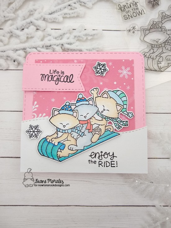 Life is magical by Diane features Newton's Toboggan, Land Borders, Frames & Flags, and Frames Squared by Newton's Nook Designs; #newtonsnook, #cardmaking, #winter