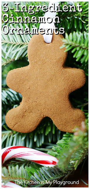 EASY 3-Ingredient Cinnamon Ornaments ~ The perfect easy homemade ornament project. Just 3 ingredients, a cookie cutter, & some drying time. Not to mention, they smell as good as they look! (If not even better, that is.) #cinnamonornaments #easyornaments #Christmasornaments  www.thekitchenismyplayground.com