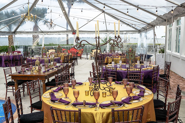 Colorful Jewel tone outdoor reception at Mansion at Tuckahoe in Jensen Beach, FL