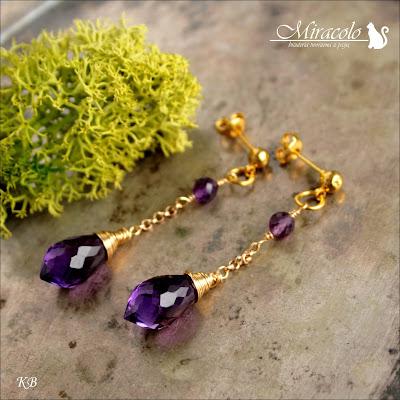 Miracolo, kwarc ametystowy, markiza, kolczyki z kroplą kwarcu, violet quartz dew drop briolette,  fioletowa markiza, violet faceted chandelier dew drops shape briolette