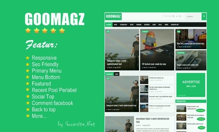 Goomagz Blogger template SEO responsive