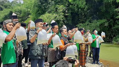 PAC GP Ansor Kemiri, Gelar Rakerancab dan Tebar Benih Ikan di Kalijali Winong