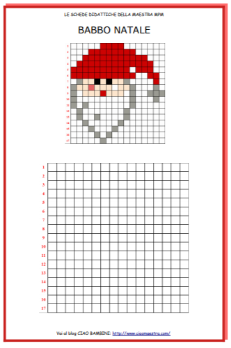 Ciao bambini ciao maestra pixel art for Schede didattiche natale maestra mary