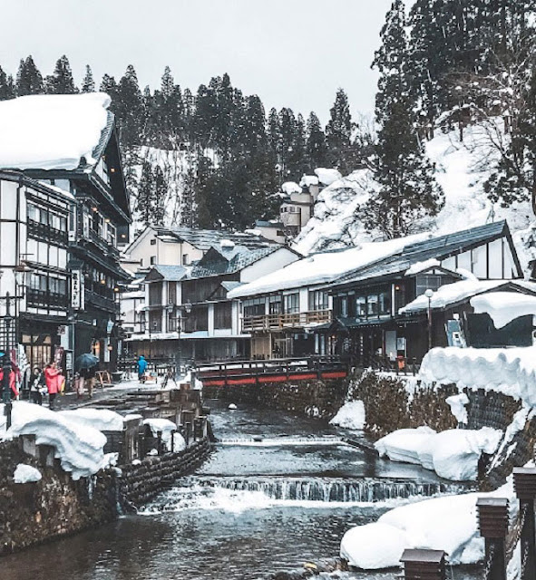 The historic building in Ginzan Onsen