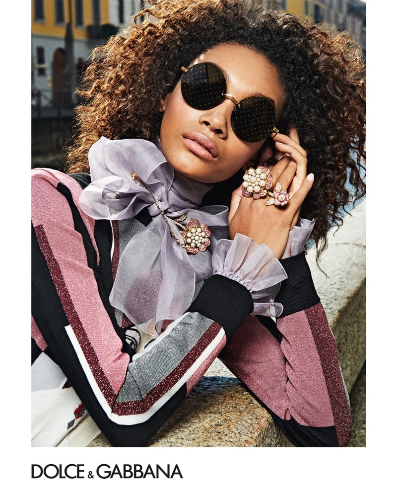 Chey Carty appears in Dolce & Gabbana Eyewear fall-winter 2019 campaign