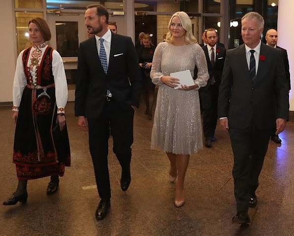 Crown Princess Mette-Marit wears ERDEM Rhona Silver Dress and Christian Louboutin Pigalle Pumps