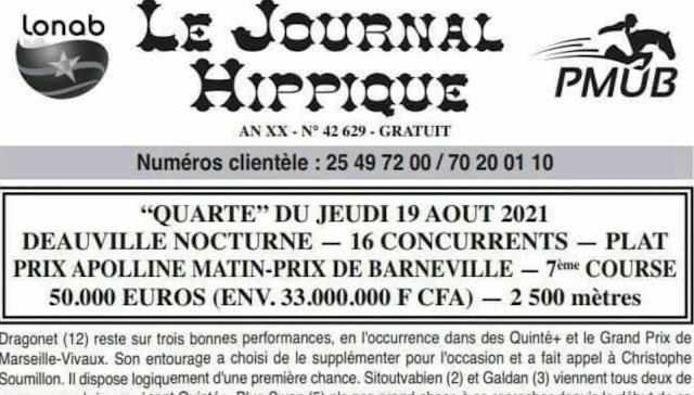 programme quinté Pronostic jeudi 19/08/2021