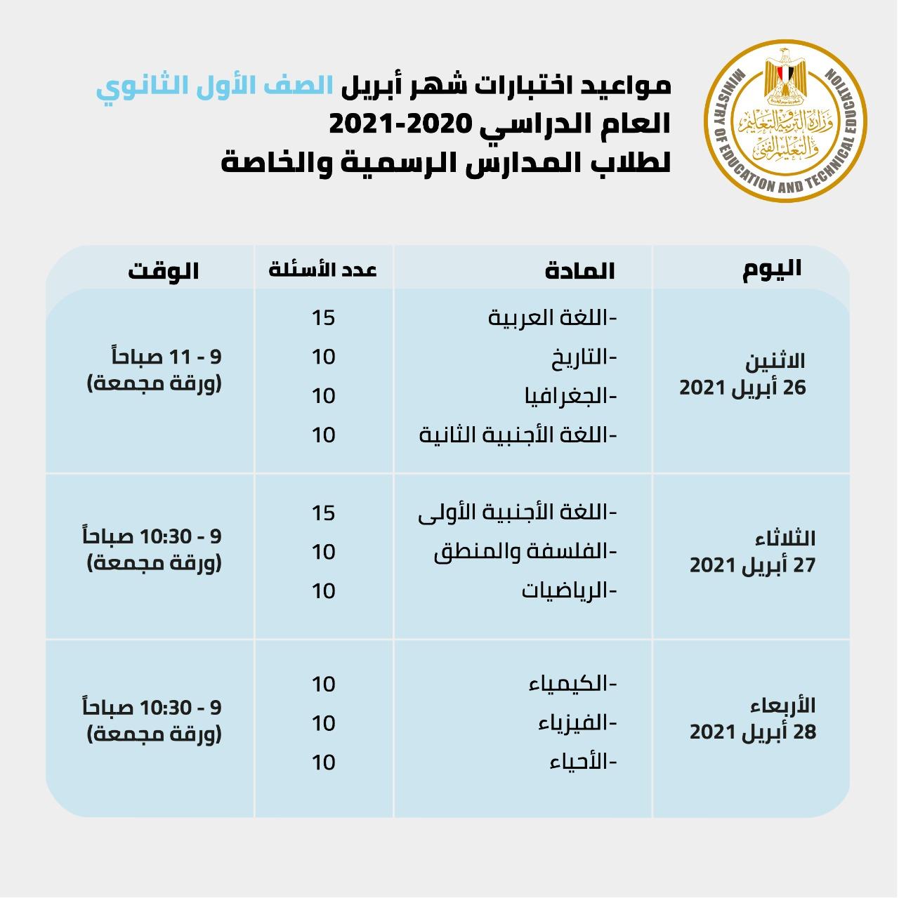جدول امتحانات الصف الاول الثانوى 2021 بعد التعديل , جدول امتحانات الصف الأول الثانوى الجديد 2021 , جدول امتحانات الصف الأول الثانوي 2021 الأزهر , جدول امتحانات الصف الأول الثانوي الترم الثاني 2020 , جدول امتحانات الصف الأول الثانوي من موقع وزارة التربية والتعليم , جدول امتحانات الصف الأول الثانوي الأزهري 2021 , جدول امتحانات الصف الأول الثانوي الصناعي 2021 , جدول امتحانات الصف الأول الثانوي الفني 2021 ,