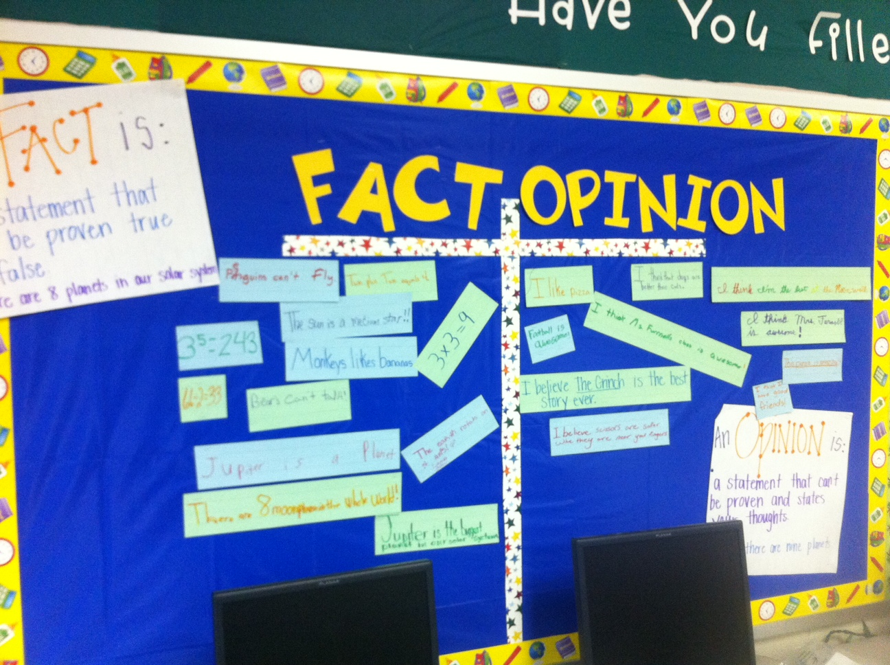opinion Fact strips and sentence