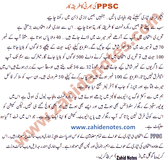 PPSC lecturers job recruitment process and merit 2020