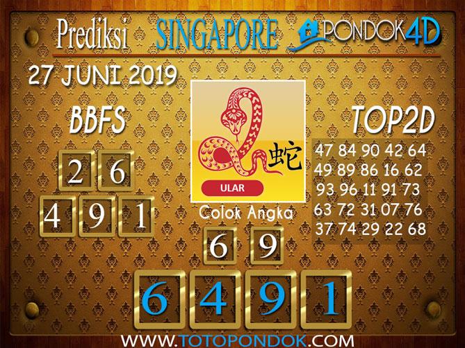 Prediksi Togel SINGAPORE PONDOK4D 27 JUNI 2019