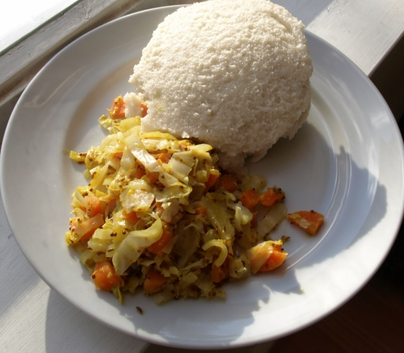 Fufu with cabbage and mixed vegetables