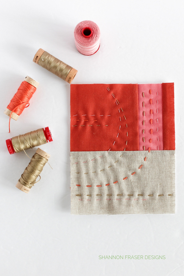 Summer Solstice Mini Art Quilt featuring Aurifil Thread in various thread weights | Shannon Fraser Designs #quiltart