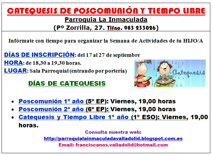 Inscripciones Catequesis 2018-2019