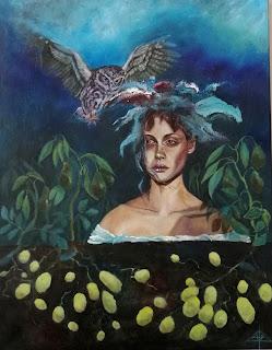Ayoellploger, corn, owl, ugle, kartoffelmark, abstrakt, figurative, wise, Nature, painting, maler, salg, galleri, Gallery, ugle, owl,