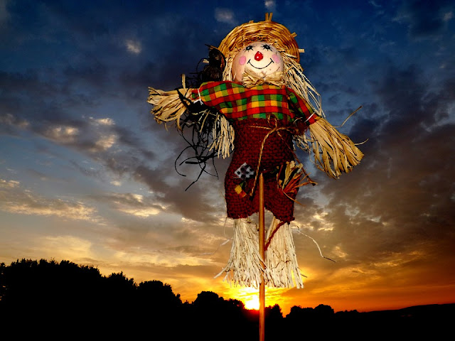 Scarecrow with sunset