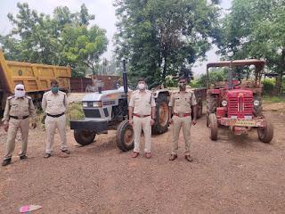 रेत के अवैध उत्खनन एवं परिवहन मे लिप्त 2 टैक्टर जप्त, चालक पुलिस गिरफ्त में