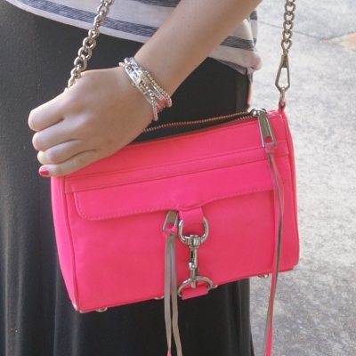 Silver bracelet stack, black maxi skirt, Rebecca Minkoff neon pink mini MAC | AwayFromTheBlue