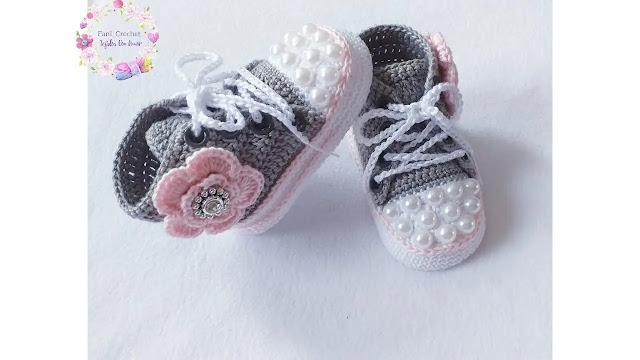 Hermosos Convers Zapatillas a Crochet