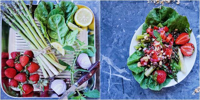 Salatwraps med grillede asparges og jordbærsalsa