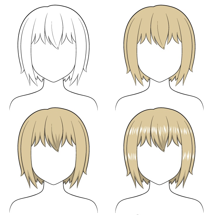 Shading anime rambut pendek selangkah demi selangkah