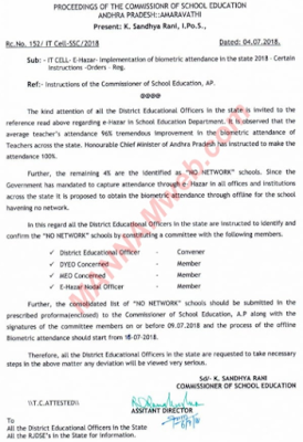 Implementation of biometric attendance In the state 2018 .Certain Instructions -Orders Reg. ,Rc152 Dt.4/7/18.