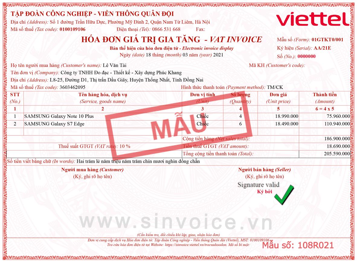 Mẫu hóa đơn điện tử số 108R021