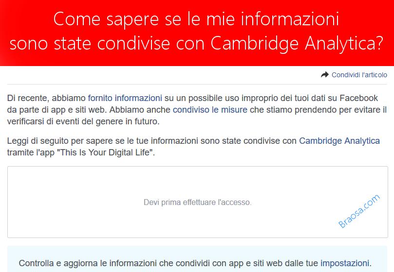 Come conoscere se le mie informazioni personali sono state condivise con Cambridge Analytica