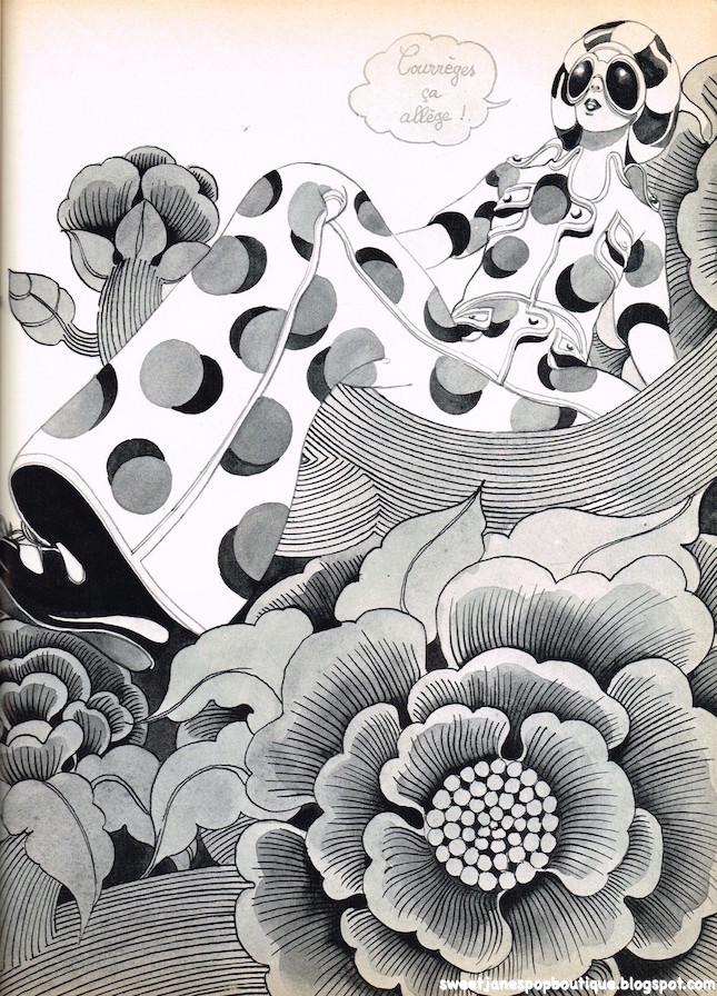Andre Courrèges Paris Fashion Illustration Hélène Majera.1970