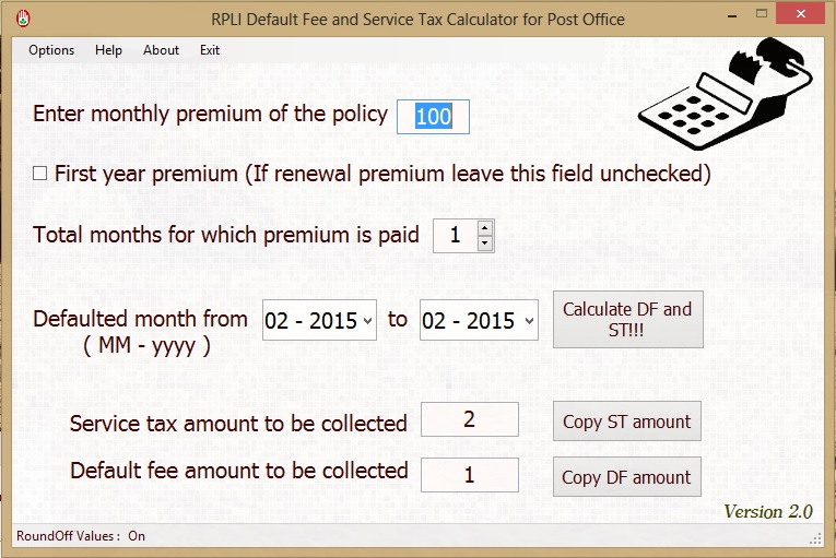rpli default and service tax calculator
