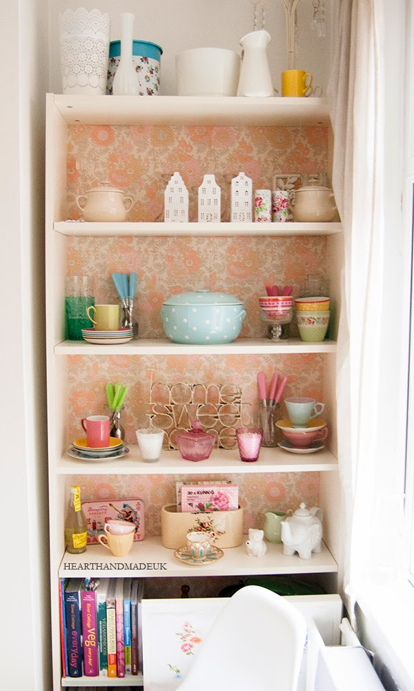 Vintage Wallpaper backed ikea billy cabinet