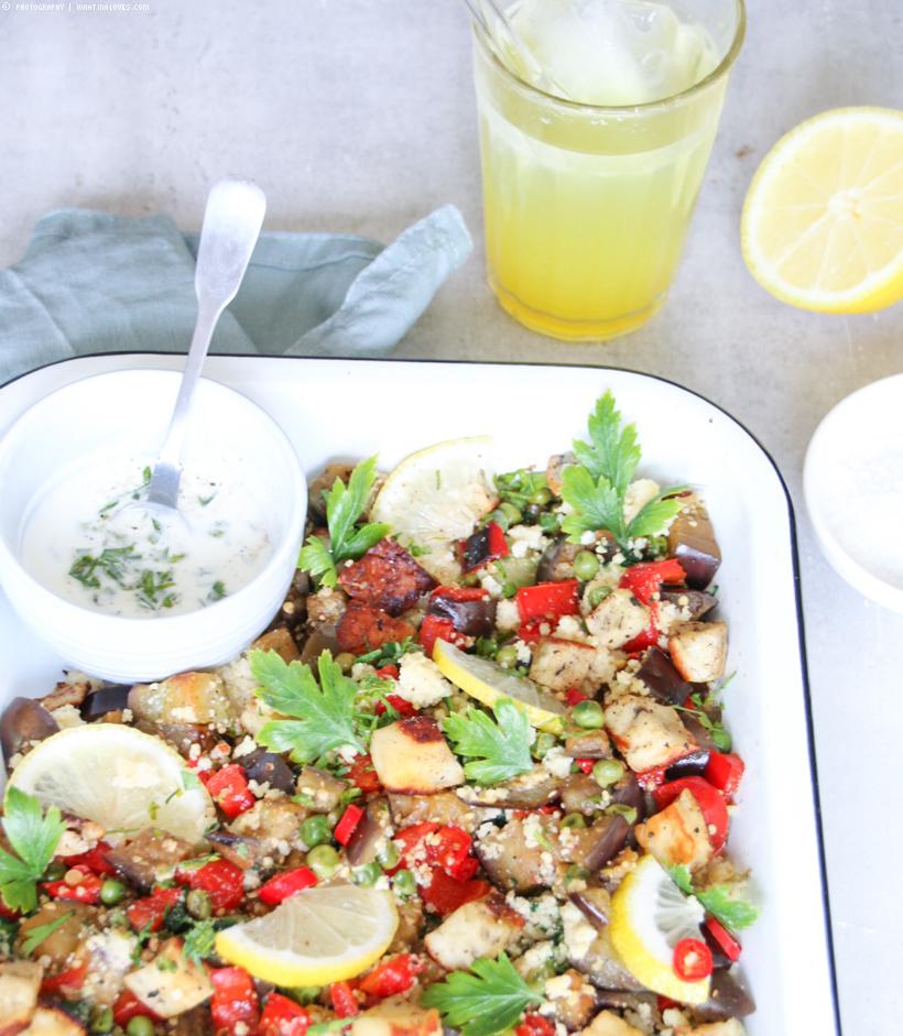 schneller Couscous mit Gemüse und Halloumi