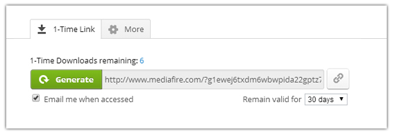 one time download link mediafire